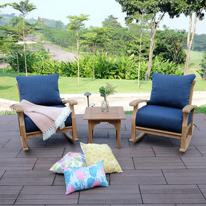 Upgrade your outdoor space with Caterina Solid Teak Wood Outdoor Rocking Chair with Navy Cushion from Cambridge Casual. Discover more of the Caterina collection here.