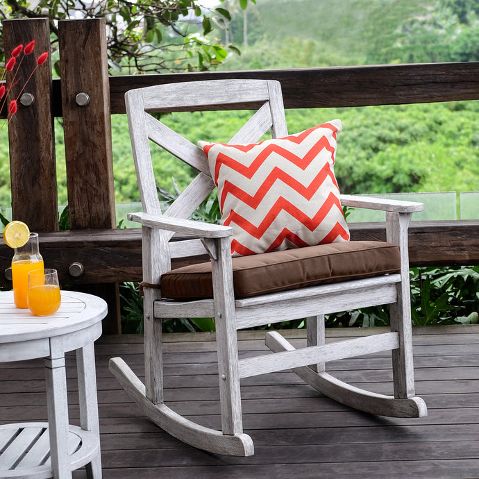 Bring the stylish and fresh look to your porch or backyard with this Carlota Solid Wood Outdoor Rocking Chair with Cappuccino Cushion. Available at Cambridge Casual today!
