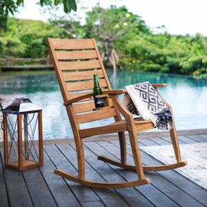 For a relaxing and sturdy addition to your garden furniture arrangement, choose Logan Solid Teak Wood Outdoor Rocking Chair wit Cup Holder from Cambridge Casual.