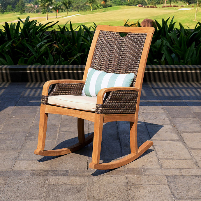 Bring home our outdoor teak furniture from the Palma range, including this Palma Solid Teak Wood Outdoor Rocking Chair with Taupe Cushion, from the experts at Cambridge Casual patio furniture!