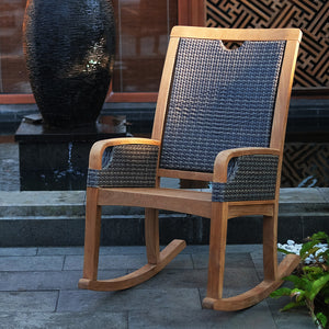 Bring home our outdoor teak furniture from the Palma range, including this Palma Solid Teak Wood Outdoor Rocking Chair with White Cushion, from the experts at Cambridge Casual patio furniture!