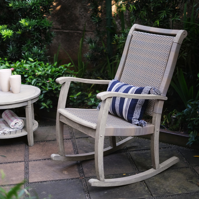 Get to know more about this gorgeous Clayton Solid Wood Wicker Outdoor Rocking Chair from Cambridge Casual patio furniture! Available today!