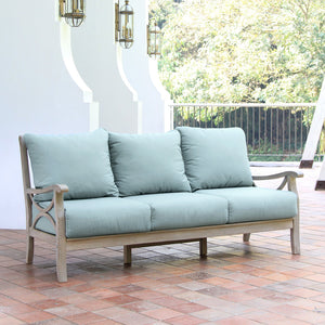 Bring home this comfortable Abbington Weathered Teak Wood Patio Sofa with Teal Cushion from Cambridge Casual. Available at Cambridge Casual patio furniture!