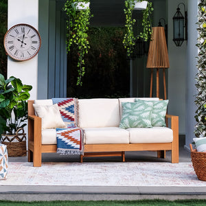 Complete your outdoor furniture collection with Logan Solid Teak Wood Patio Sofa with Sunbrella Cushion. Purchase now from Cambridge Casual now and enjoy the style and comfort of its teak design.