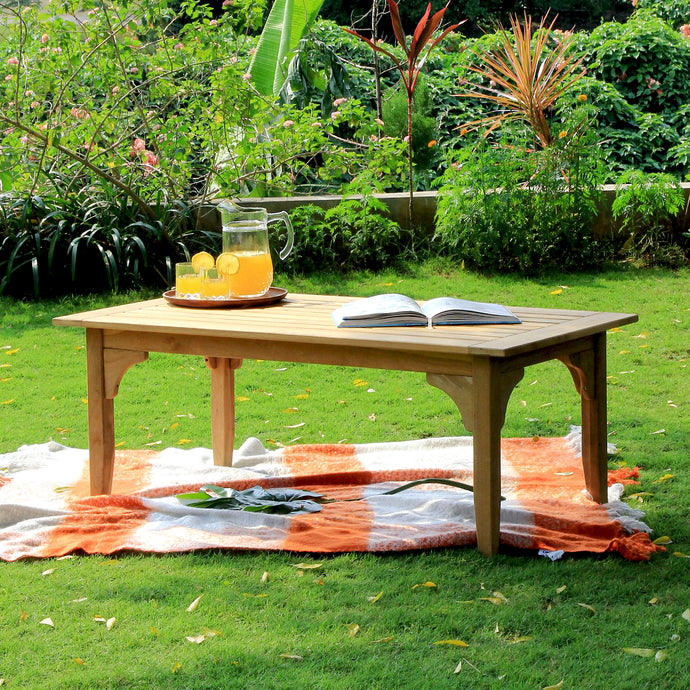 This Caterina Solid Teak Wood Outdoor Coffee Table can be the center of your peaceful patio or balcony. Buy it today from Cambridge Casual Patio Furniture.