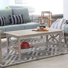 Weathered Teak Wood Outdoor Coffee Table