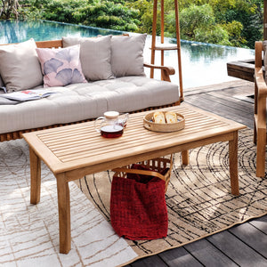 Explore this excellent Mosko Solid Teak Wood Outdoor Coffee Table, which works well with any outdoor furniture, available today at Cambridge Casual.