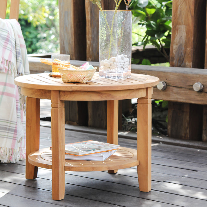 A beautiful and versatile addition to your seating ensemble, add this Richmond Solid Teak Wood 24-inch Outdoor Side Table with Shelf, available today in Cambridge Casual Patio Furniture!