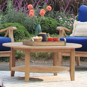 Own this Caterina Solid Teak Wood Outdoor Round Coffee Table today from Cambridge Casual! It adds good vibes to any outdoor furniture collection!