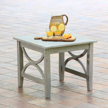 Weathered Teak Wood Outdoor Side Table
