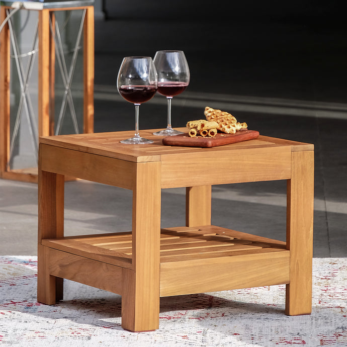 Make a great outdoor seating arrangement with this Logan Solid Teak Wood Outdoor Side Table to your lounge chair even patio set. Buy it today from Cambridge Casual!