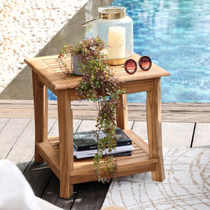 Make a beautiful seating arrangement with this Mosko Solid Teak Wood Outdoor Side Table with Shelf. Buy it today from Cambridge Casual!