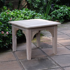 Shop this gorgeous Caterina Weathered Teak Wood Outdoor Side Table to make a great companion to your lounge chair or even your patio set! Available today from Cambridge Casual patio furniture.