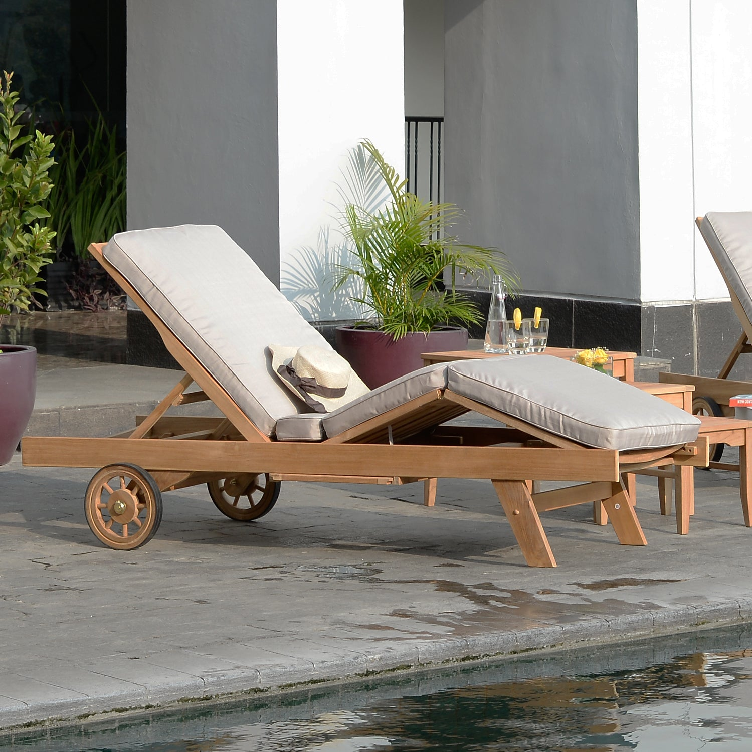 Solid Teak Wood Outdoor Chaise Lounge with Beige Cushion ...
