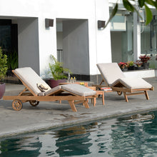 Outdoor Chaise Lounge with Beige Cushion