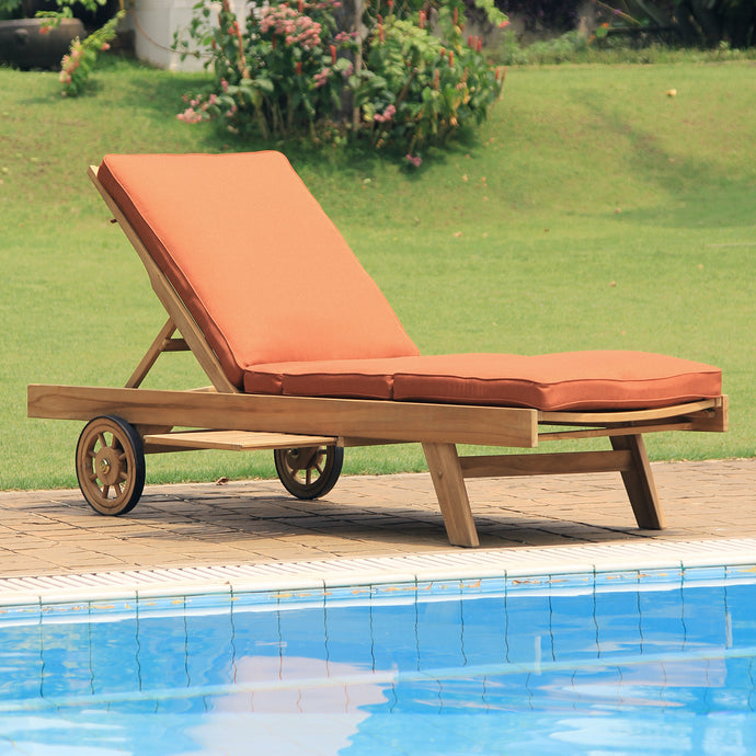 Enjoy your relaxing outdoor time with this Richmond Solid Teak Wood Outdoor Chaise Lounge with Brick Cushion. It's available to buy today from Cambridge Casual patio furniture!