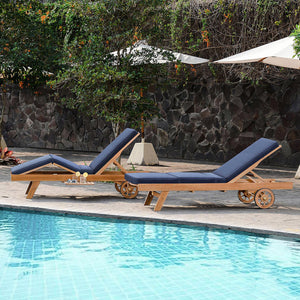 Indulge yourself beside the pool in comfort and style of aRichmond Solid Teak Wood Outdoor Chaise Lounge with Navy Cushion. Available today from Cambridge Casual patio furniture!