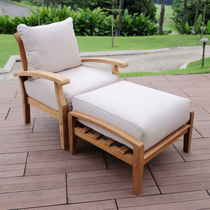 Complete your patio furniture arrangement with this splendid Caterina Solid Teak Wood Outdoor Ottoman with Beige Cushion, available now from Cambridge Casual.