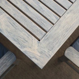 Carlota Solid Wood Weathered Gray Outdoor Dining Table is a great complement to your patio dining space. Purchase it today from Cambridge Casual patio furniture.