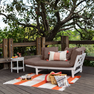 The white wash frame color and cappuccino cushion this Carlota Solid Wood Outdoor Convertible Sofa Daybed is perfect additional to your outdoor furniture space. Have it now from Cambridge Casual!