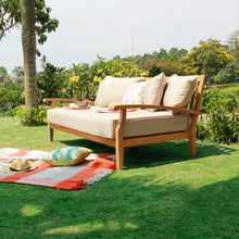 Own Caterina Solid Teak Wood Outdoor Daybed with Beige Cushion from Cambridge Casual to complete your outdoor furniture collection and enjoy the style and comfort!