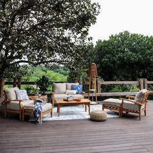 Purchase this Caterina Solid Teak Wood 7 Piece Patio Conversation Set with Beige Cushion from Cambridge Casual today, and enjoy the luxurious comfort and enduring elegance in your garden.