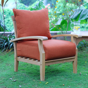 The Rich Brick red cushions and natural teak finish of this Caterina Solid Teak Wood 7 Piece Patio Conversation Set from Cambridge Causal is ideal for completing your social outdoor space.