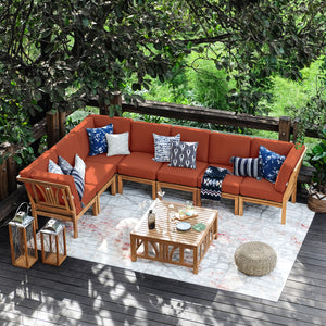 Find out more about the beautiful Abbington patio sectional sofa set at Cambridge Casual. The teak frames and vivid red cushions are simply gorgeous.