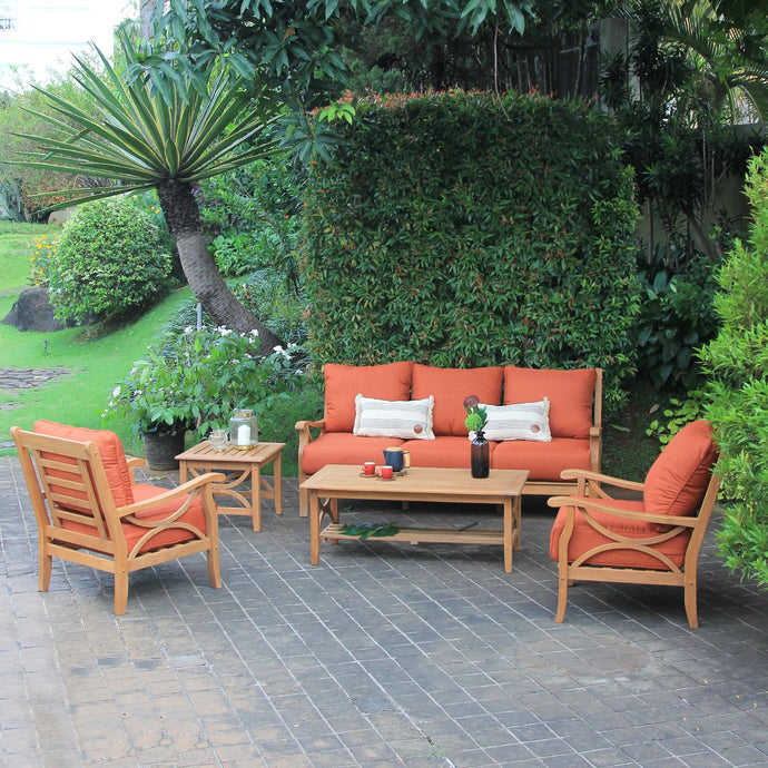 Discover Cambridge Casual's Abbington collection with this beautiful and versatile patio conversation set with brick red cushions. Buy it here, today.