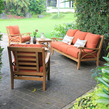 Discover Cambridge Casual's Abbington collection with this beautiful and versatile patio conversation set with red cushions. Buy it here, today.