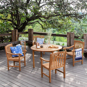 This Vermont five-piece teak wood round table dining set is the ideal addition to any outdoor dining area. Purchase it from Cambridge Casual today.