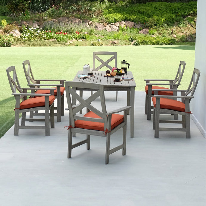Purchase this Carlota Solid Wood 7 Piece Outdoor Dining Set with Brick Cushion from Cambridge Casual's range of mahogany furniture. Available now from Cambridge Casual patio furniture!