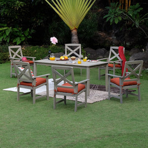 7 Piece Outdoor Dining Set with Brick Cushion