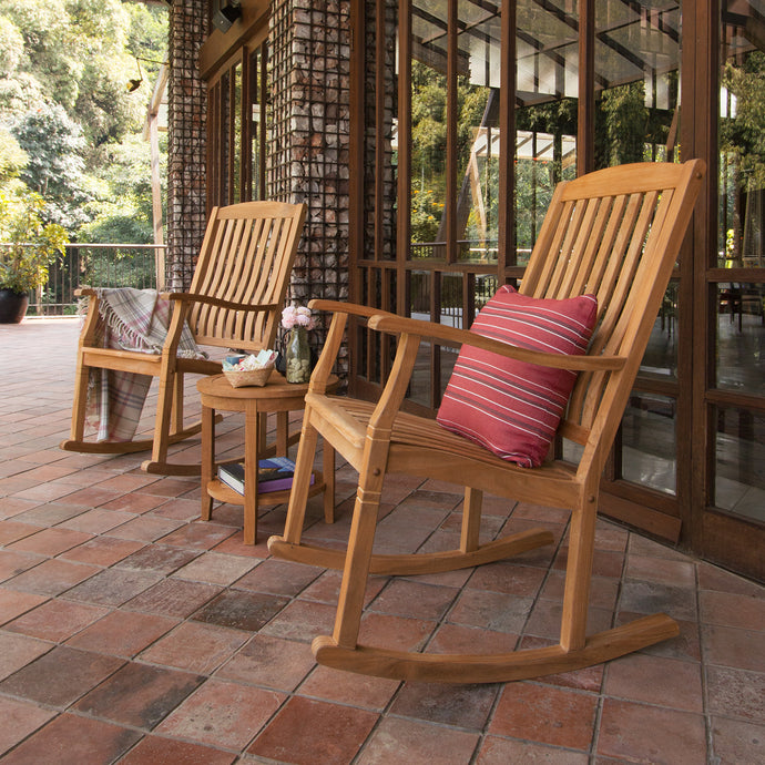 3 Piece Teak Rocking Chair Chat Set