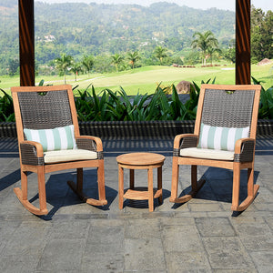 Explore outdoor teak furniture from the Palma range, including this Palma Solid Teak Wood 3 Piece Patio Rocker Conversation Set with Taupe Cushion from the experts at Cambridge Casual patio furniture!