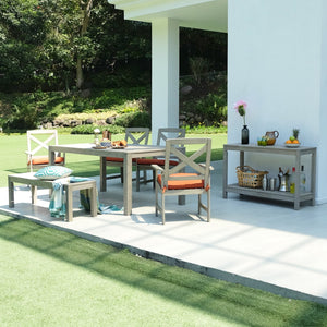 Feel the good vibes from Carlota six-piece patio dining set's rustic design and enjoy with your loved ones. Available today from Cambridge Casual patio furniture!