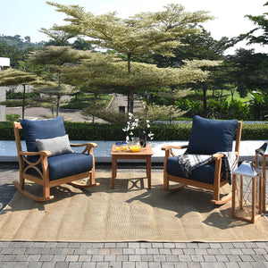 Abbington Solid Teak Wood 3 Piece Patio Rocker Conversation Set with Beige Cushion is a perfect chat set to complete your patio. Grab now from Cambridge Casual patio furniture!