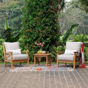 Upgrade the look of your balcony or porch with this Abbington 3pc Outdoor Chat Set with beige cushion. It's available now from Cambridge Casual patio furniture!