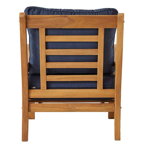 Bring home this Abbington Solid Teak Wood 3 Piece Patio Conversation Set with Navy Cushion to style up your balcony or patio. It's available now from Cambridge Casual Patio Furniture!