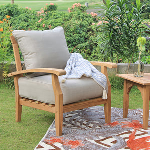 Create tempting outdoor space with this Caterina Solid Teak Wood 3 Piece Patio Conversation Set with Beige Cushion from Cambridge Casual patio furniture! Available to purchase today!