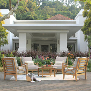 Don't miss out on this handsome Abbington Solid Teak Wood 5 Piece Outdoor Lounge Chat Set with Beige Cushion from Cambridge Casual patio furniture today!