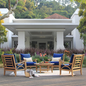 Explore this handsome Abbington Solid Teak Wood 5 Piece Outdoor Lounge Chat Set with Navy Cushion from Cambridge Casual patio furniture today!