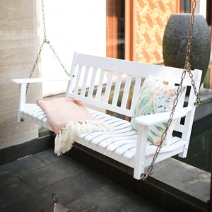 This Moni Solid Wood White Porch Swing is one of the must have item from Cambridge Casual. You can feel the comforting deep contoured seat and relaxing sway motion. Available in black and white color. Buy now from Cambridge Casual.