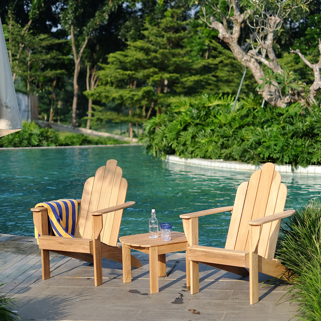 Explore the Richmond collection at Cambridge Casual, including this smart buy Richmond Solid Teak Wood 3 Piece Patio Adirondack Conversation Set that will look great in any setting. Its elegant design will complete your garden seating arrangement.