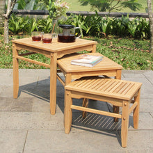 These Richmond teak nesting tables are the perfect addition to your outdoor seating arrangement. Buy them today from Cambridge Casual.