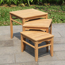 These Richmond Solid Teak Wood Outdoor Nesting Side Table are the perfect addition to your outdoor seating arrangement. Buy them today from Cambridge Casual.