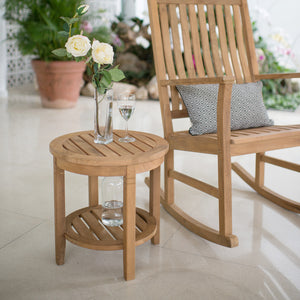 Teak Wood Outdoor Side Table with Shelf