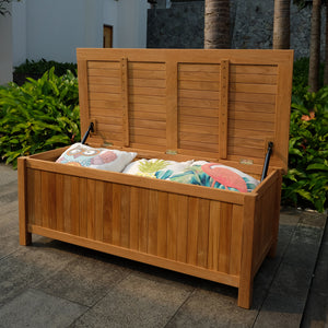 There are few elegant outdoor storage options available, but this Richmond Solid Teak Wood 48 Inch Outdoor Storage Deck Box is one of them. Buy it today from Cambridge Casual.
