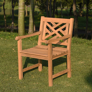 Buy this Rocca Solid Teak Wood Outdoor Dining Chair to complete your outdoor dining arrangement. It's available today from Cambridge Casual.