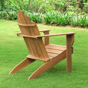 Purchase this fine Richmond Solid Teak Wood Adirondack Chair today from Cambridge Casual. Its elegant design will complete your garden seating arrangement.